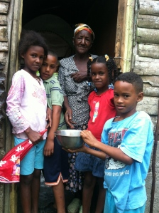 Beautiful Dominga with one of her granddaughters and some of the neighborhood kids