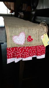 burlap heart table runner