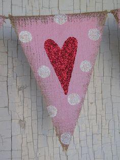 heart polka dot burlap banner